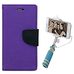 Aart Fancy Diary Card Wallet Flip Case Back Cover For Mircomax E313 - (Purple) + Mini Aux Wired Fashionable Selfie Stick Compatible for all Mobiles Phones By Aart Store