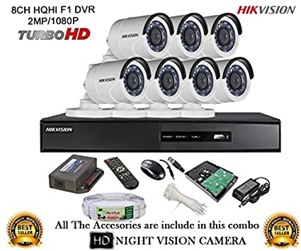 Hikvision-DS-7208HQHI-E1-8CH-Dvr,-7(DS-2CE16DOT-IRP)-Bullet-Cameras-(With-Mouse,-Remote,1TB-HDD,Cable,Bnc&Dc-Connectors,Power-Supply)