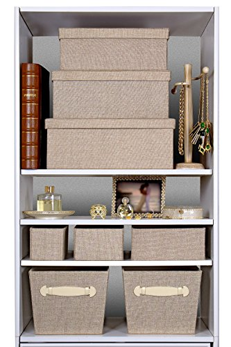 Decorative Boxes For Bookshelf : Foldable organizers beige cotton fabric pcs set