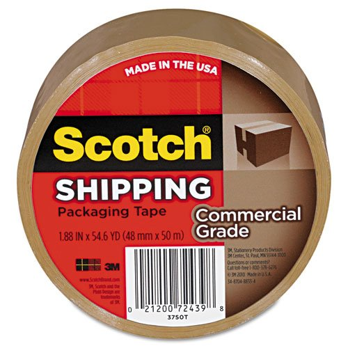 Scotch Commercial Grade Shipping Packaging Tape, 1.88 in x 54.6 yd, 1 Roll, Tan (3750T) (Paper Packaging Tape compare prices)
