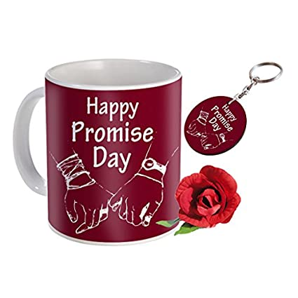 Sky Trends Valentine Combo Gift For Girlfriend Printed Coffee Mug Keychain Artificial Rose Gift For Kiss Day Propose day Promise Day Hug Day Rose Day Gifts