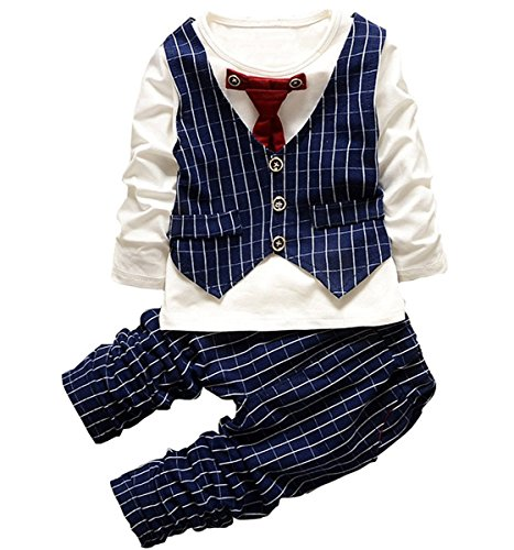New Spring Autumn Baby Boy Clothing Set Boy Sports Suit Set Children Christmas Outfits Red Plaid,80(6-12months)