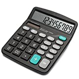 Calculator Electronic Desktop Calculator with 12 Digit Large Display Dual Power Solar Desktop Business Calculator(Black)