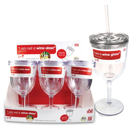 Insulated Wine Glass With Straw front-454085