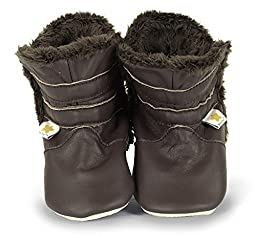 Ministar Girls and Boys Baby Infant Toddler Prewalker early walking Leather Shoes fur lined boots -Chocolate - Large 12-18 mo.