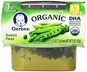 Gerber 1st Foods Organic Sweet Peas, 2-Count, 2.5-Ounce Tubs (Pack of 8)