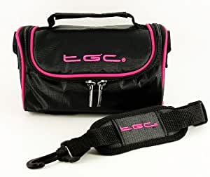 TGC ® Camera Case for Canon Sure Shot Owl with shoulder strap and Carry Handle (Jet Black & Hot Pink)
