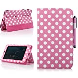 ATC For Asus Google Nexus 7 Tablet - Pink Polka Dots Pattern Smart Cover Auto Sleep PU Leather Case ( Include Screen Protector, Cleaning Cloth, Touch Stylus)