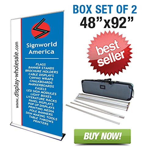 "Signworld 48"" Hd Retractable Roll Up Banner Stand (Box Of 2)"