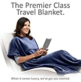 Travelrest 4-in-1 Premier Class Travel Blanket with Pocket - Covers Shoulders - Plush, Soft and Luxurious ?Built-In Stuff Sack (Navy)