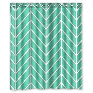 Generic Waterproof Shower Curtain With Mint Green Herringbone Chevron Pattern