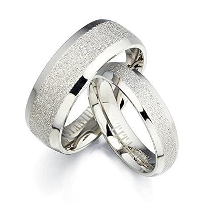 Free Engrave Groom & Bride Beveled Edge Matching Couple Wedding Anniversary Titanium Ring Set, UK Size H to Z6