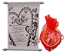 Natali Love Gift Love Scroll Card With Couple Showpiece & Teddy Key Chain In Basket