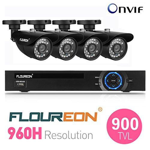 FLOUREON® CCTV Set Videoüberwachung 1 X 8CH 960H DVR Onvif 1080P NVR mit 4 Stücke 900 TVL Nachtsicht Überwachungskamera Sicherheitssystem HDMI (1920*1080) Anschluss DE