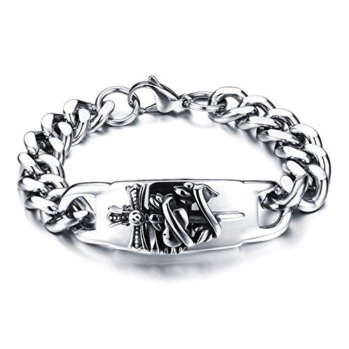 [M. JVisun]-Bracciale da Uomo in Acciaio Inox 316L Twist croce spada, catena in metallo argento, 22cm (220)