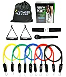 Fitness Master 5-Color Resistance Band Set with Door Anchor Attachment, Legs Ankle Straps, Case and Exercise Guide (11 Items)