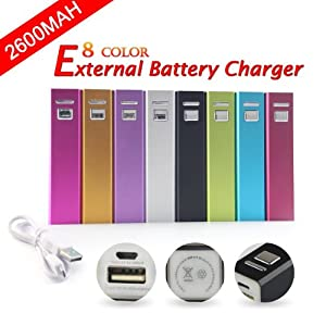 UKOUTLET® 2600mAh Power Charger Battery Bank for iPad, iPad 2/3, iPhone 5, iPhone 4, iPhone 4S, iPod, Blackberry, HTC, Android, Samsung and many more - Pink
