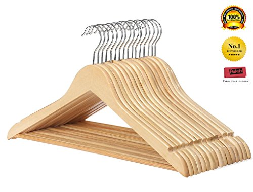 Paksh / Whitmor Multifunctional Natural Solid Wood Slim Suit, Trousers and Coat Hangers, Set of 16