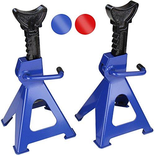 Timbertech Set 2 cavalletti alza solleva auto colore blu