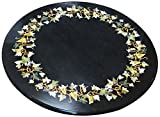 Designed By Heart Stone Table Top (Black, 24 inches x 24 inches)