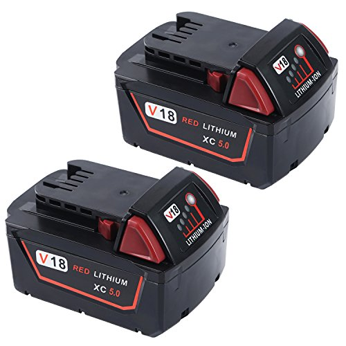 Weide 18V 5.0Ah Replacement Milwaukee M18 XC Red Lithium Battery for 48-11-1850 48-11-1852 48-11-1840 48-11-1828 Cordless Tool ( 2 pack ) (Automatic Grease Gun Battery compare prices)