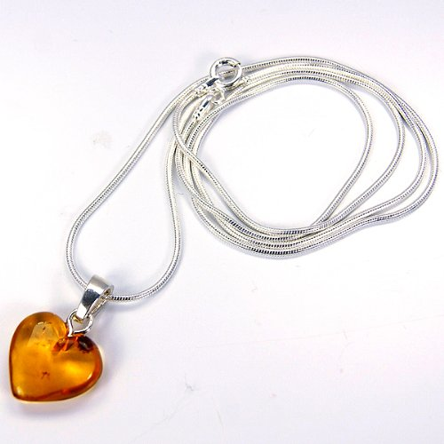 The Silver Plaza Sterling Silver Forever Love Amber Heart Necklace