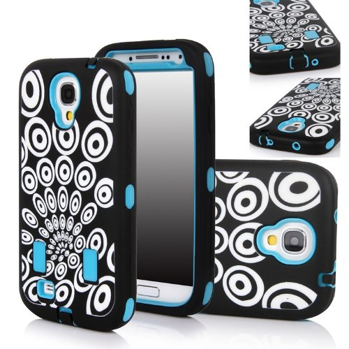 Matek(Tm) For Samsung Galaxy S4 S Iv I9500 Fashional Printed Hard Soft High Impact Hybrid Armor Defender Combo Case (Peacock Feathers Blue) With 1 Screen Protector, 1 Matek Wristband And 1 Microfiber Cleaner