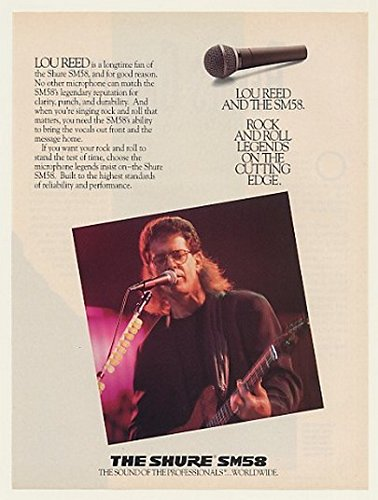 1989 Lou Reed Shure Sm58 Microphone Photo Print Ad (46977)