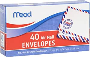 Mead #6 3/4 Air Mail Envelopes, 40 Count (74212)