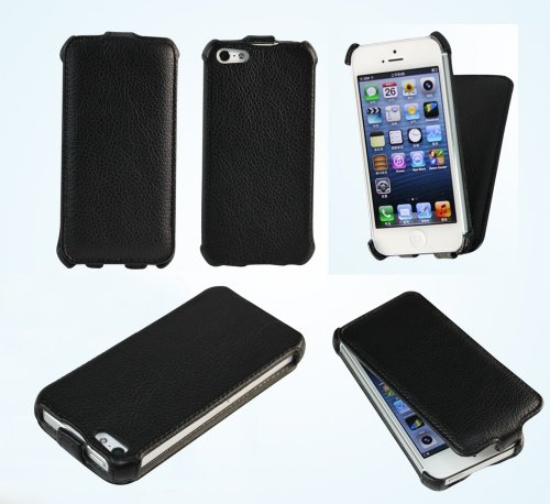 Bear Motion (TM) Premium Flip Folio Case for iPhone 5 - (Black)
