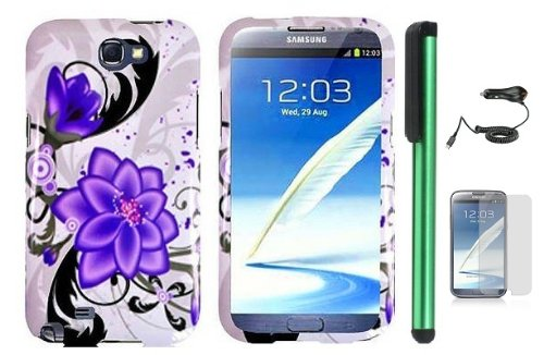Samsung Galaxy Note II N7100 Combination - Premium Pretty Design Protector Hard Cover Case / Car Charger / Screen Protector Film / 1 of New Assorted Color Metal Stylus Touch Screen Pen (Splash-ink Painting Purple Violet Lily Flower On White)