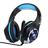 [2016 New Launch] BEEXCELLENT Gaming Headset with Microphone LED Light for PS4 PC Xbox One Laptop Tablet Mobile Phones (Black-Blue)