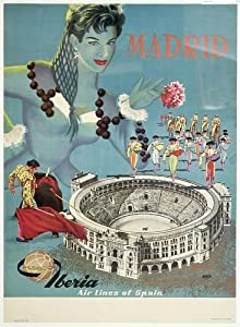 Vintage Iberia Airlines Madrid Tourism Poster A3 Reprint ...