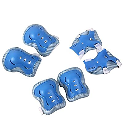 Kid's Roller Blading Wrist Elbow Knee Pads Blades Guard 6 PCS Set in blue-grey from Top Sources