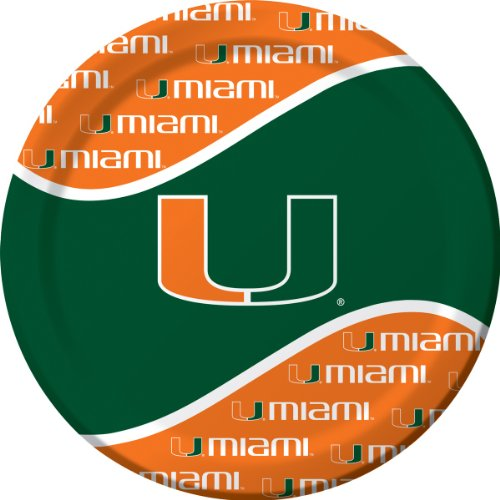 Creative Converting Miami Hurricanes Dinner Paper Plates (8 Count) - 1