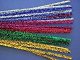 25 Mixed Tinsel Pipe Cleaners Glitter Craft Pipecleaners