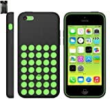 Emartbuy® Apple Iphone 5c Retro Hole Dots Silicon Skin Cover/Case Black