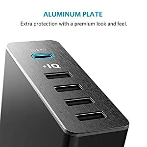 USB Type-C, Anker Premium 5-Port 60W USB Wall Charger PowerPort+ 5 USB-C with Power Delivery for Apple MacBook, Nexus 5X / 6P and PowerIQ for iPhone, iPad, Samsung & More