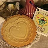 Scalloped Heart Handled Ceramic Cookie Stamp or Press