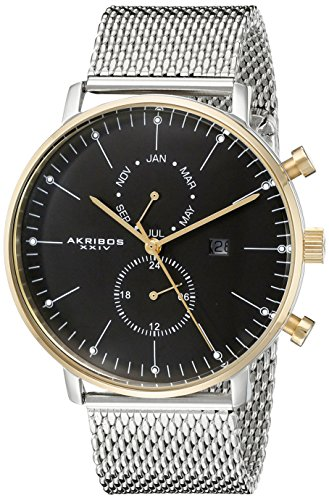 Akribos XXIV Men's Quartz Watch with Black Dial Analogue Display and Silver Stainless Steel Bracelet AK685SSG