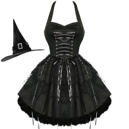 HEARTS & ROSES LONDON BLACK LACE GOTHIC STEAMPUNK EMO PARTY PROM DRESS