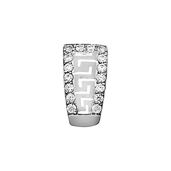 18k white gold pendant ends fretwork zircons [AA4586]