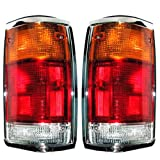 1986-1993 Mazda Pickup Truck B2000 B2200 B2600 Taillight Taillamp Rear Brake Tail Light Lamp (With Chrome Trim) Pair set Left Driver AND Right Passenger Side (1986 86 1987 87 1988 88 1989 89 1990 90 1991 91 1992 92 1993 93)