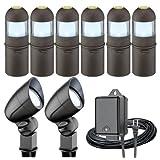 Intermatic LL08351T Malibu 8 Pack Low Voltage 1-Watt LED Metal Bollard/Flood Light plus 75-Feet Cable and 40-Watt Power Pack/Timer, Oil Rubbed Bronze ~ Intermatic
