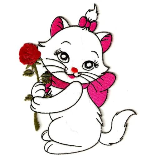 """Amazon.com: 8"""" Marie kitten in Aristocats white cat holding a red rose"""