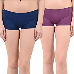 Mynte Women's Sports Shorts (MEWIWCMBP-SHR-105-103, Navy Blue, Purple, Free Size, Pack of 2)
