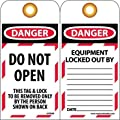"""NMC LOTAG9 """"DANGER - DO NOT OPEN"""" Lockout Tag, Unrippable Vinyl, 3"""" Length, 6"""" Height, Black/Red on White (Pack of 10)"""