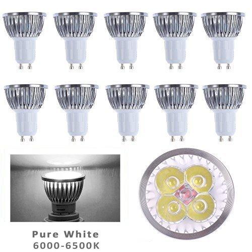 10pcs Pack 110V 4W GU10 LED Bulbs - 6000K Daylight Spotlight - 330 Lumen, 35Watt Equivalent - 45 Degree Beam Angle (Gu10 Led Bulbs compare prices)