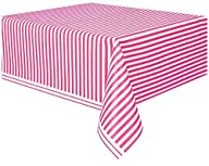 Hot Pink Striped Plastic Tablecloth,…