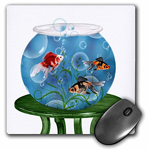 3dRose 8 x 8 x 0.25 Inches Mouse Pad, Goldfish In A Bowl on A Small Table For Persian New Year (mp_101832_1)